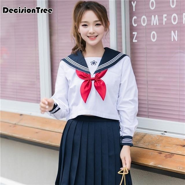 2019 summer japanese school uniform class girl maid sailor cosplay escolar japones navy costume tie pleated dolly skirt full set