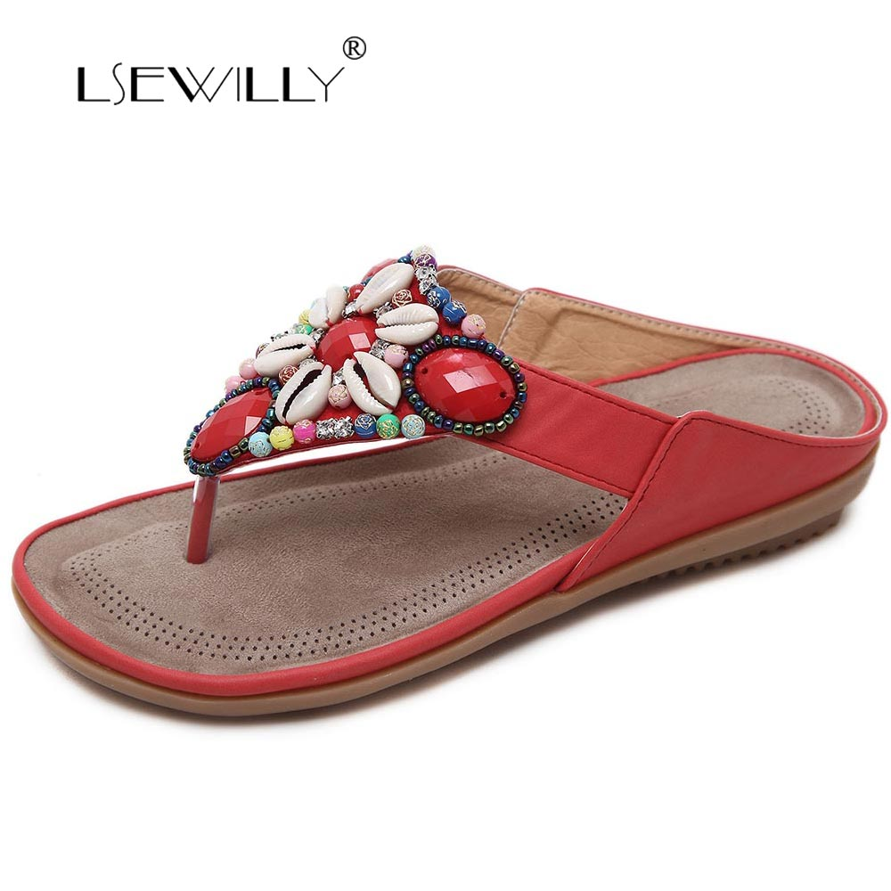 Lsewilly Hot Women Summer Comfortable Breathable Flat Sandals Shoes Woman Flip Flop Crystal Casual Beach Sandals Size 35-42 S031 women s shoes 2017 summer new fashion footwear women s air network flat shoes breathable comfortable casual shoes jdt103