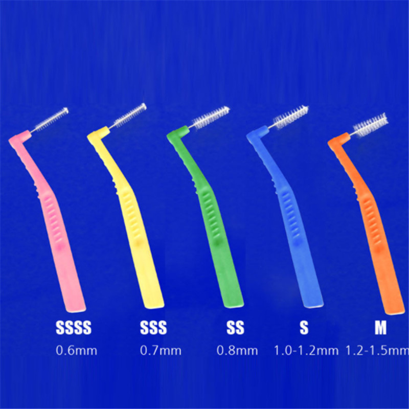 20Pcs/Box 0.6mm-1.5mm L Shape Push-Pull Interdental Brush Soft Dental Floss Toothbrush Orthodontic Wire Brush Oral Care Tool