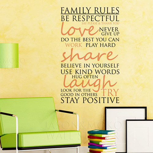 Art wall decals wall stickers vinyl decal quote family rules kitchen family wall decals 6095cm free shipping in wall stickers from home garden on