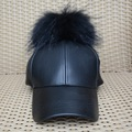 S1588 Wholesale/ Retail New PU Leather Baseball Hat Women Real Large Raccoon Fur Pompom Cap
