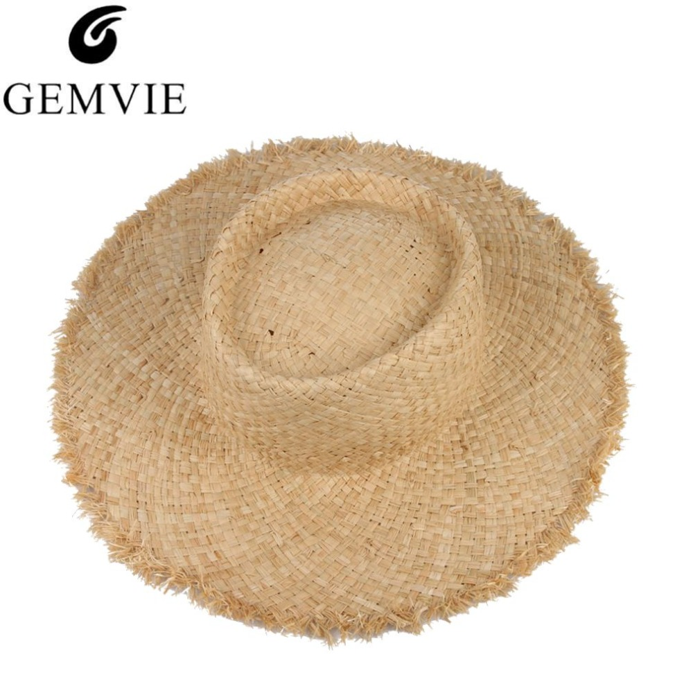 33470d167db Floppy Raffia Large Brim Straw Hat Dome Jazz Caps Sombrero Fashion Ladies Beach  Hat Outdoor Summer