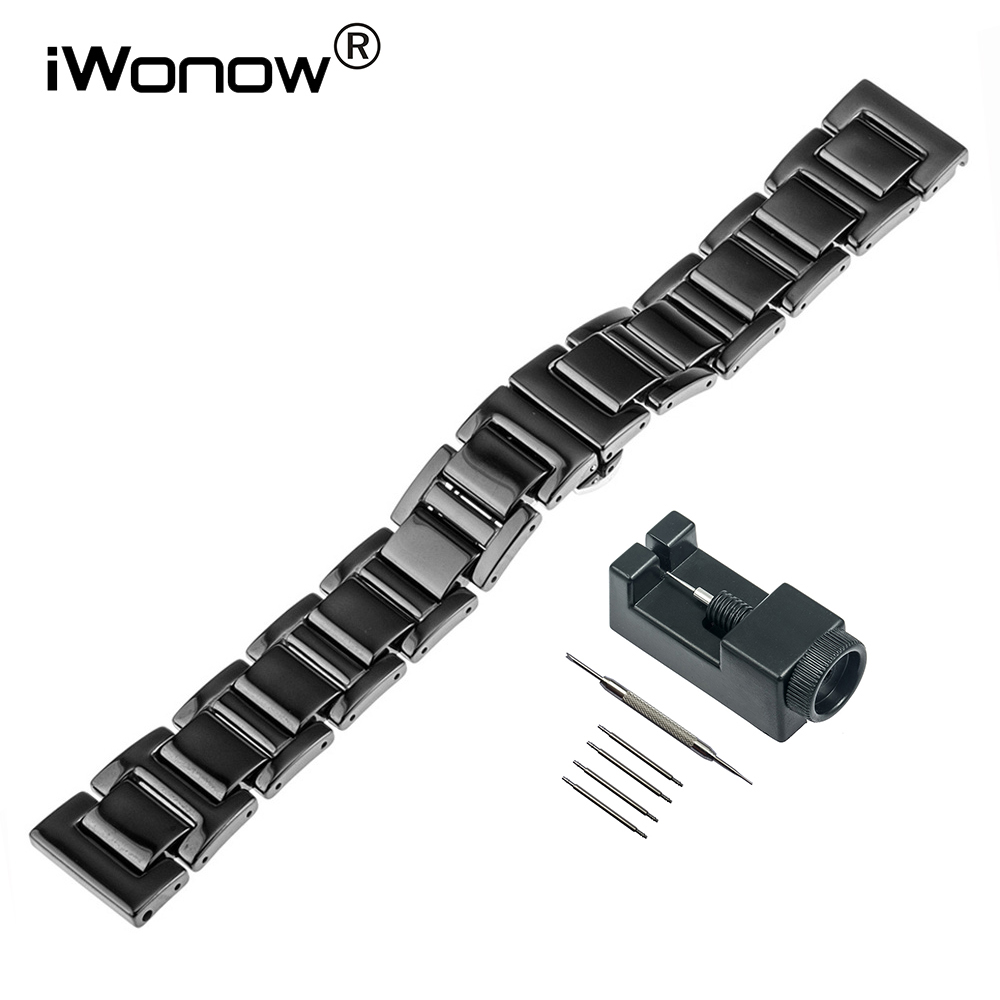 16mm 18mm 20mm Full Ceramic Watchband Universal Straight End Watch Band Butterfly Buckle Strap Wrist Bracelet Black White + Tool for samsung gear s2 classic black white ceramic bracelet quality watchband 20mm butterfly clasp