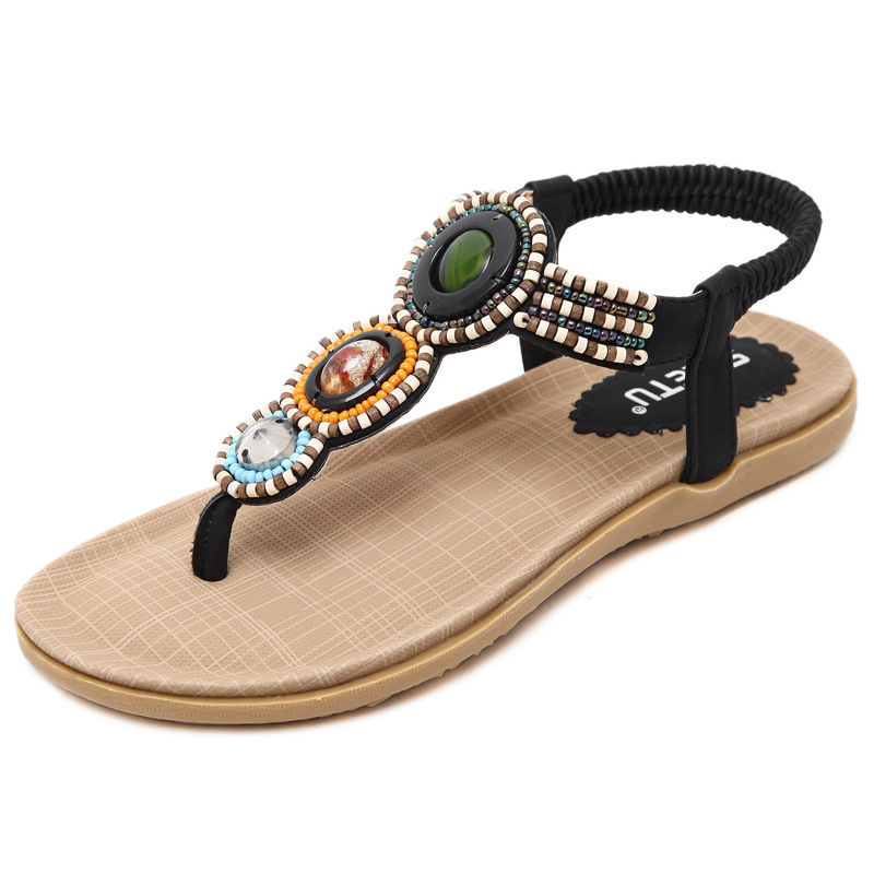 cca659e55fc100 Hot Sell New Summer Clip Toe Bohemia Flat Sandals Crystal Ladies Fashion  Comfortable Beach Shoes