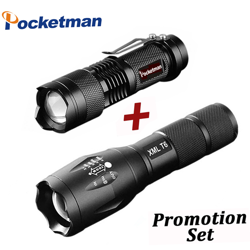 Promotion Set! Hot Sale LED Flashlight XML-T6 Tactical flashlight + Q5 Mini Torch Lanterna Zoomable Waterproof Flashlight Bike sitemap 40 xml