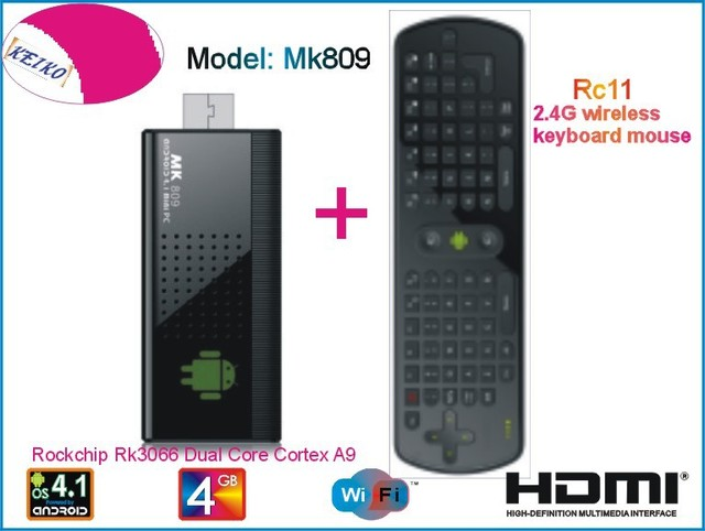 MK809 Android 4.1 Mini PC TV Stick Rockchip RK3066 1.6GHz Cortex A9 Dual core 1GB RAM 4GB MK809 3D TV Box + RC11 Air Mouse