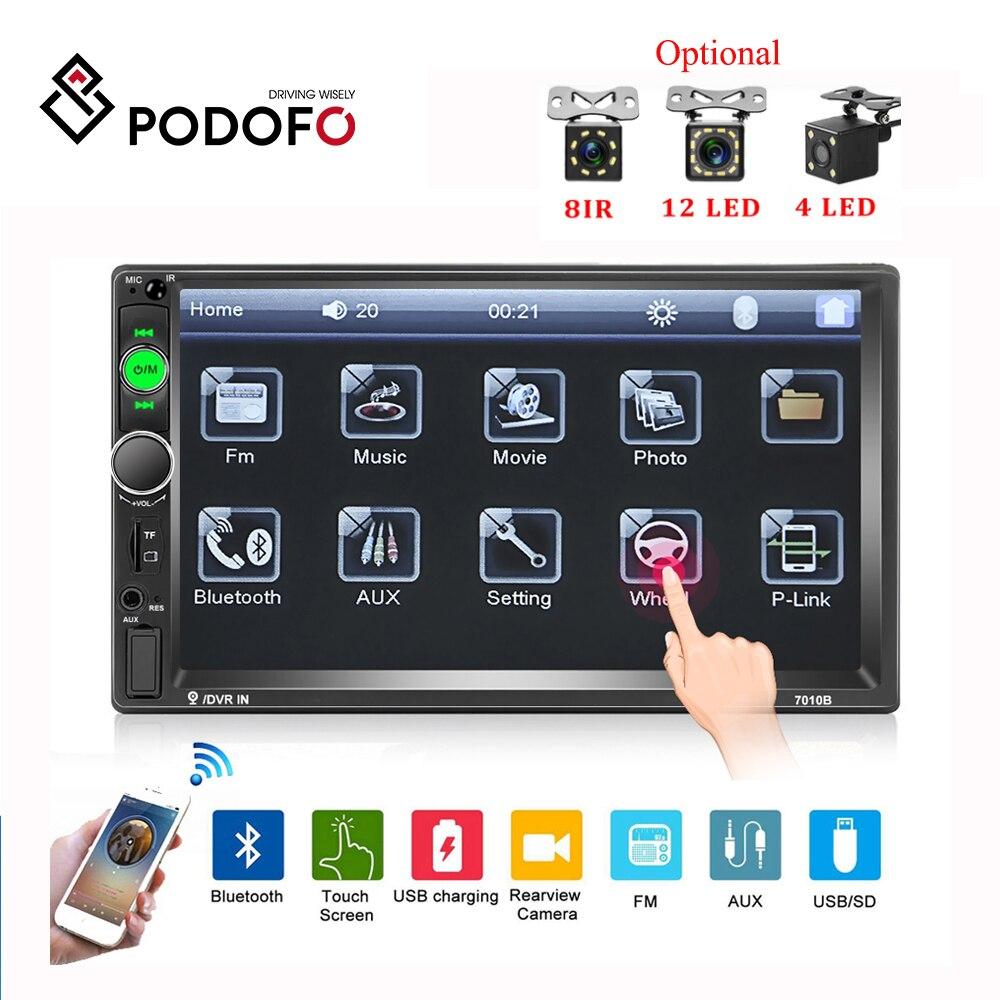 Podofo 2 din coche Radio 7 Autoradio coche Multimedia MP5 reproductor espejo enlace coche Auto audio Bluetooth coche ESTÉREO cámara de apoyo