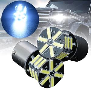 Image 5 - 2 قطعة 12 فولت BA15S 1156 7020 بدوره مصباح إشارة 21LED سوبر الأبيض الذيل احتياطية عكس الفرامل ضوء لمبة للإضاءة سيارة