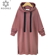 ROGREZ Black Pink Grey Pullovers Long Sleeve Hooded Hoody Women Casual Color Cotton Sweatshirt Autumn Winter