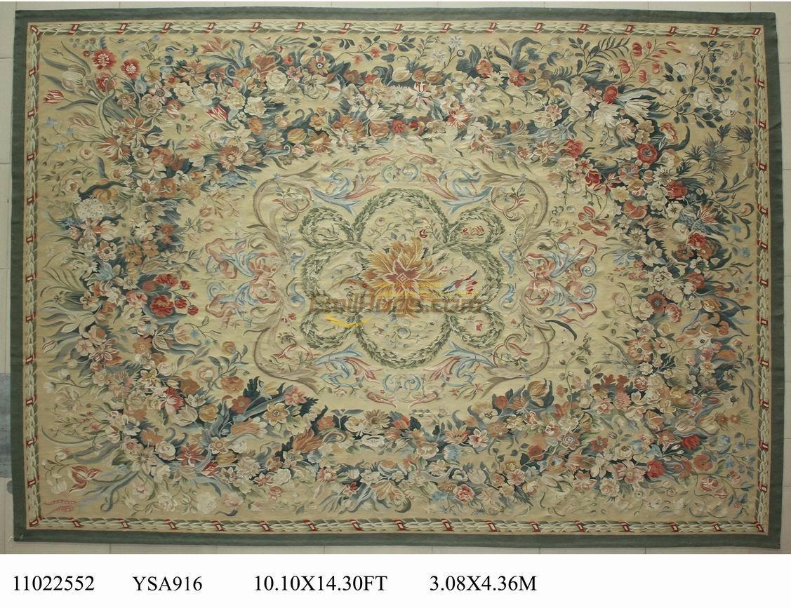 Fait à la main nouvelle liste Antique laine à tricoter tapis Antique français tapis Rare Aubusson Style