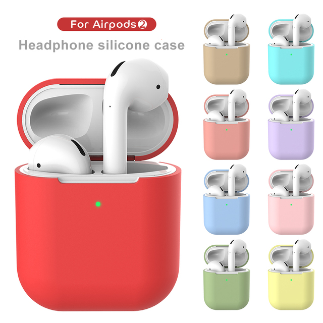Earphone Case For Apple AirPods 2 Silicone Cover Wireless Bluetooth Headphone Air Pods Pouch Protective