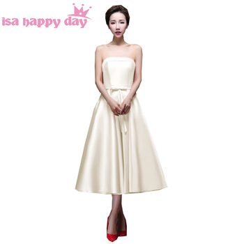 black bow strapless sleeveless champagne red bridesmaid satin formal tea length dress for teens young girls dresses H2905
