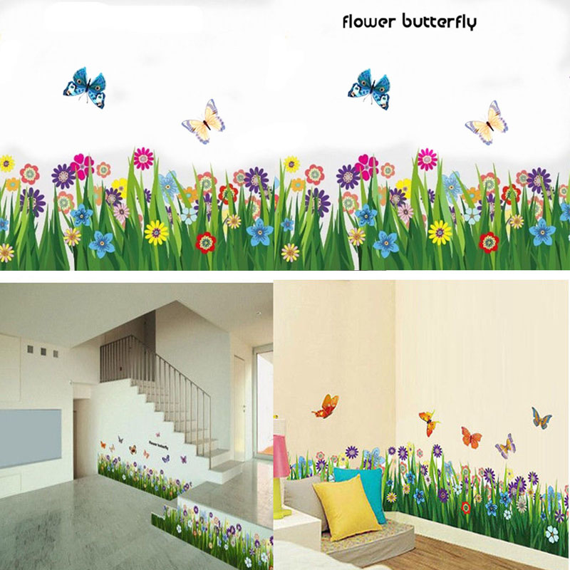 Hot Sale Lovely Decoration Garden Flower Grass Butterfly Wall Border Decal Removable Windows Sticker Decor In Stickers From Home On