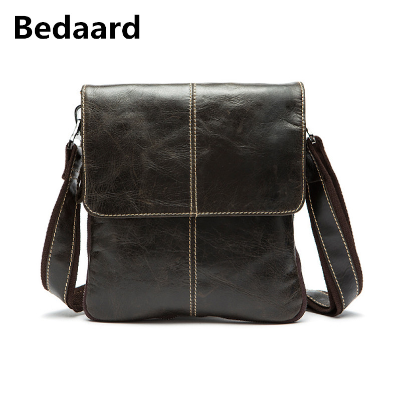 Bedaard Genuine Cow Leather Bag Men Bags Messenger Bags Male Small Flap Vintage Leather Shoulder Crossbody Bags Man Briefcas men crossbody bags real leather 2017 new man fashion vintage brand shoulder messenger bags cow leather casual black bag male