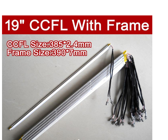 6PCS 19'' Inch Dual Lamps CCFL With Frame,LCD Monitor Lamp Backlight With Housing,CCFL With Cover,CCFL:385mm,FRAME:390mm X7mm