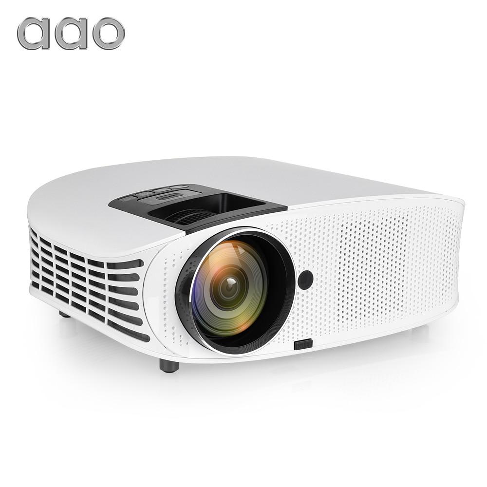 Projecteur AAO 3600 Lumens HD projecteur YG600 LED 3D AC3 affichage de synchronisation filaire projecteur multi-écran TV Android 8.1 WiFi 4 K projecteur