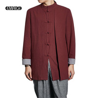 2017 China Style Stand Collar Men Jacket High Quality Cotton Linen Loose Coat Fake 2 Pieces