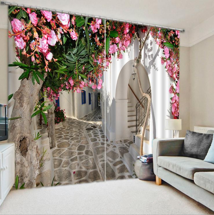 Courtyard Curtains Bedding Living Room or Hotel Cortians Sunshade Window Curtains 3D Tridimensional Scenery Printing-in Curtains from Home & Garden    1