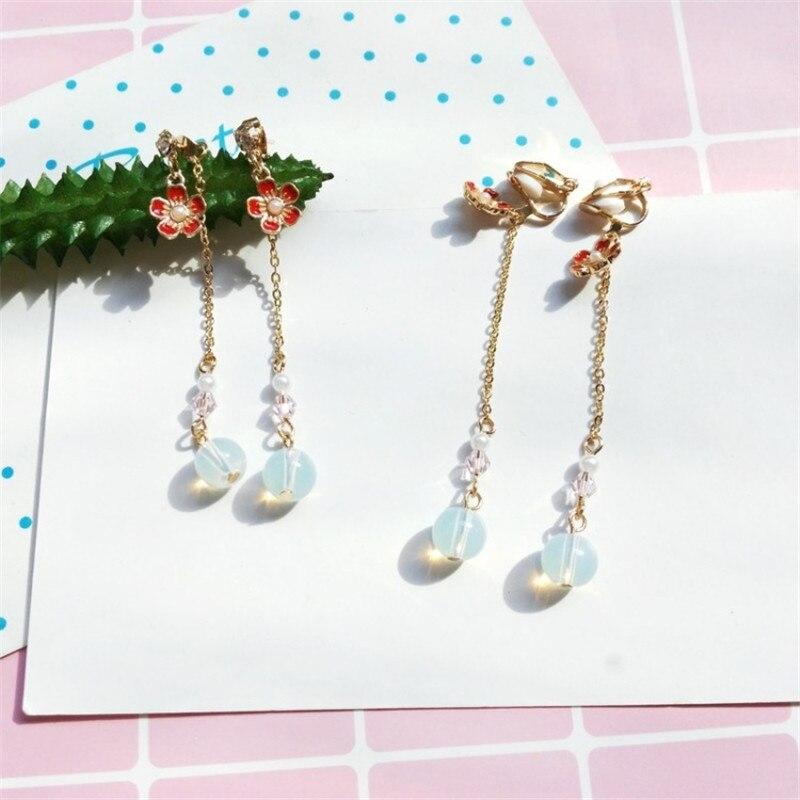 2018 Cherry Long Pendant Earrings Japan and South Korea Temperament Simple Earrings Girl Students Beautiful Youth Beautiful Girl