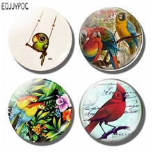 Cute Bird Painting 30 MM Fridge Magnet Fabo Art Education Learn Glass Dome Magnetic Refrigerator Stickers Note Holder Home Decor painting the bird 30mm fridge magnet cute animals refrigerator magnet glass dome magnetic stickers creative home decor