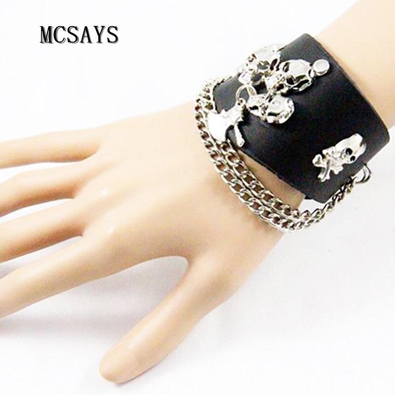 MCSAYS Rocker Punk Jewelry Skull Head Link Chain Leather Bracelet Gothic Skeleton Bangle 80s Hipster Fashion Gift Punkcuffs 4HD