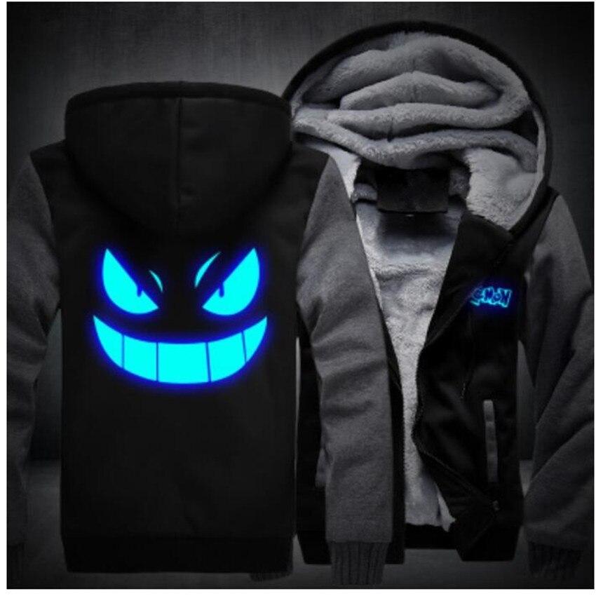 USA SIZE Anime Pokemon Go Pocket Monster Gengar Luminous Coats Glowing Men's Hoodies Sweatshirts Winter Thicken Fleece Clothing
