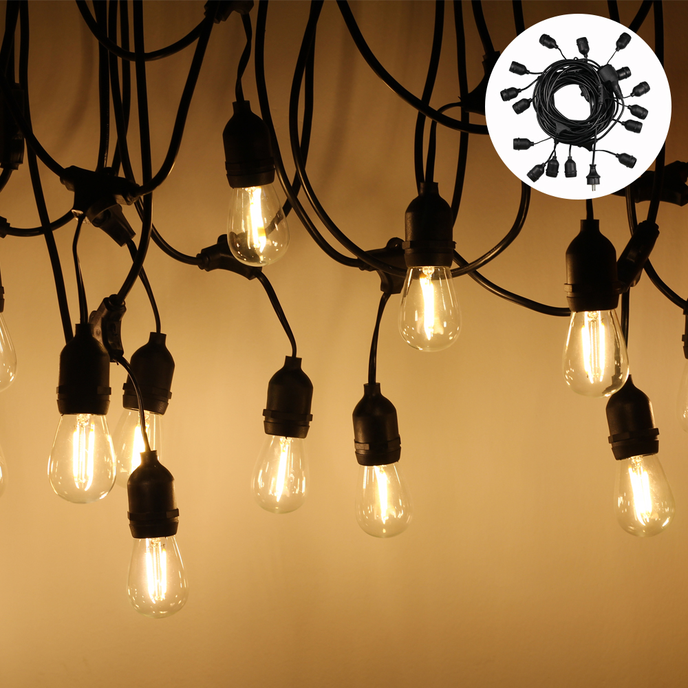 15M LED String Light Outdoor Waterproof S14 Warm LED Retro E27 Edison Filament Bulb Halloween Street Garden Holiday Light String 20pcs bulb string light