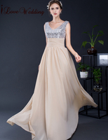 2016 Hot Sale Evening Dresses Sleeveless A Line Champagne Chiffon With Silver Sequined V Neck Floor