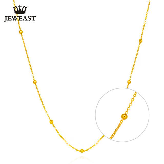 18K Pure Gold Necklace white yellow rose chain beads O SHAPE for woman gril gift for self fine jewelry new hot sell upscale top