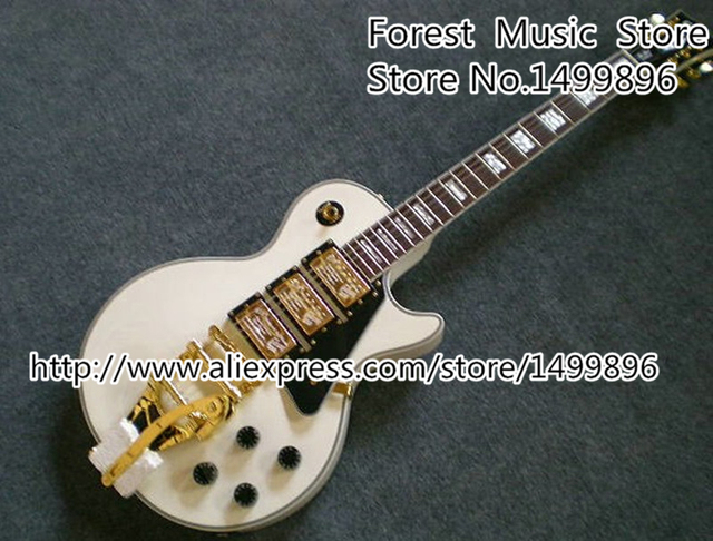 Cheap Free Shipping White Classical LP Custom Electric China Guitarra With Golden Hardware For Sale