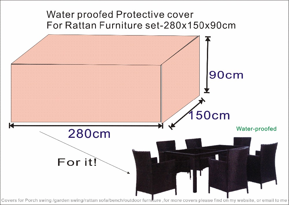 Beige sand Protective Cover for Patio Rattan Furniture set 280x150x90cm,waterproofed/ dust proofed cover,Chair cover