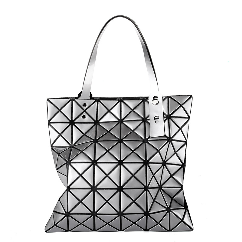 New japan style geometric rhombus patchwork fold handbags women folding  shoulder bag Triangle mosaic square tote handle bags 5f27171b41433
