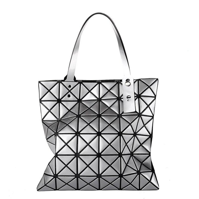 80136d7dc3 Nuovo stile del giappone geometrica rhombus patchwork piega delle donne  delle borse del sacchetto di spalla pieghevole Triangolo mosaico piazza  tote ...
