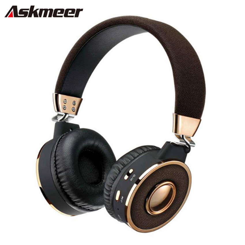 Askmeer BT-08 Wireless Bluetooth Headphones Handsfree Calls Stereo Headset with Microphone FM TF Card Play for iPhone XiaoMi