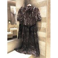 New 2018 dress leopard bow tie strap temperament pleated dress short sleeve shirtdress