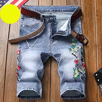 New Fashion Mens Summer Embroidery Short Jeans Brand Clothing Bermuda Summer Cotton Shorts Breathable Denim Shorts Male Size