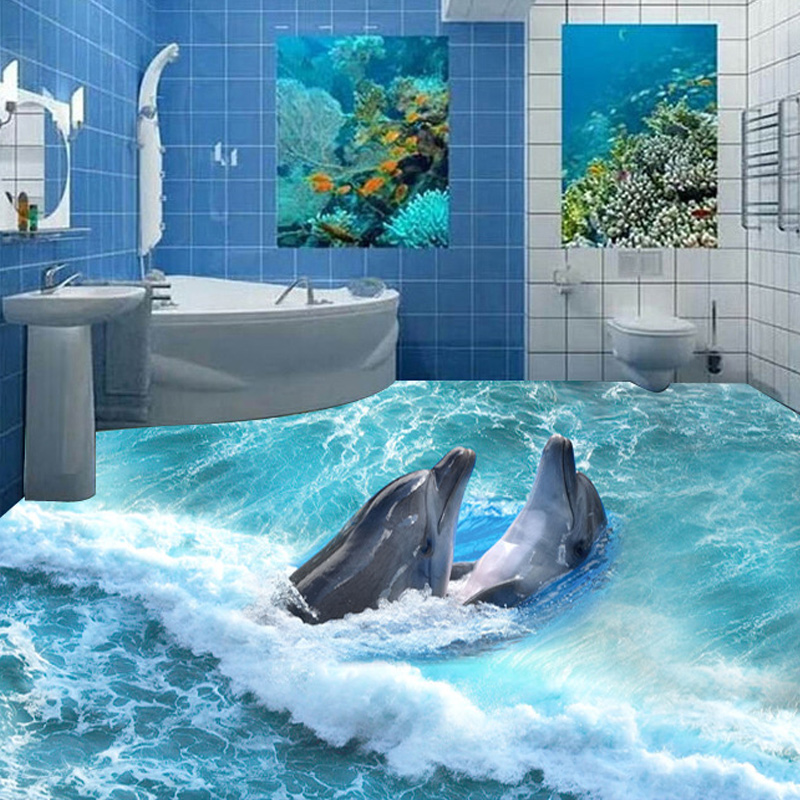 Customized any size floor wallpaper 3d stereoscopic for Dolphin mural wallpaper