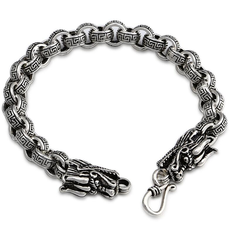 Thai 925 silver jewelry cross link dragon vintage thick bracelets Chain & Link bracelets 2018 mens jewelry double layer link chain men bracelets 925 sterling silver bracelets