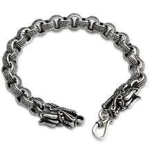 788a7c7f9ad6 Thai 925 joyería de plata enlace cruzado dragón vintage pulseras gruesas  cadena y eslabones pulseras