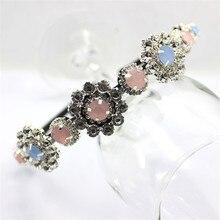 Trend Korean Baroque Women Girls Rhinestone Crystal Flower Headband Delicate Glitter Hair Band Palace Headwear Wedding Headpiece