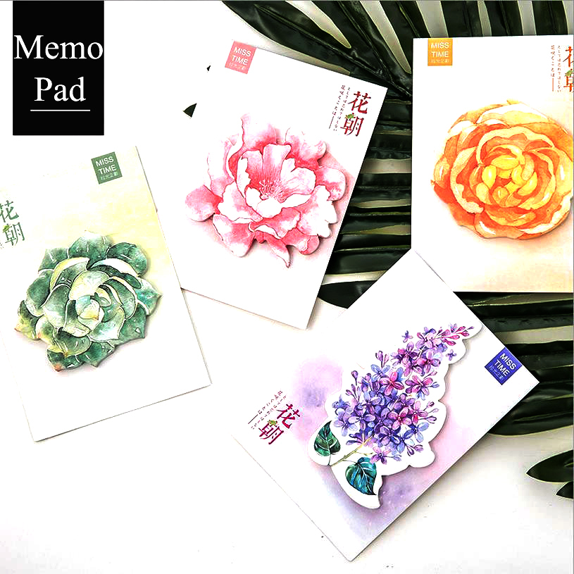NOVERTY 4 Pcs Creative Kawaii Colors Flower Post it Memo Pad Sticky Notes School Supply Bookmark Label Escolar Papelaria 01883