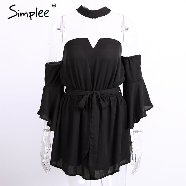 Simplee Sexy bustier chiffon black jumpsuit romper summer v neck pleated playsuit Halter backless flare sleeve overalls