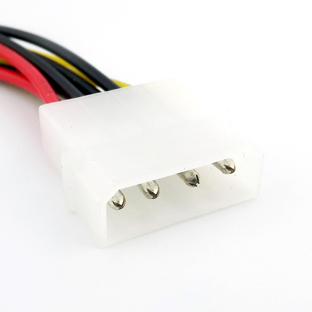 IDE 4 PIN Molex Male Power to 2x Female Y Splitter Adapter Extension Cable 20cm