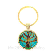 Tree of Life Keychain Celts Pattern Picture Glass Cabochon Jewelry Key Holder Car Accessories For Men Women Gift Wholesale(China)