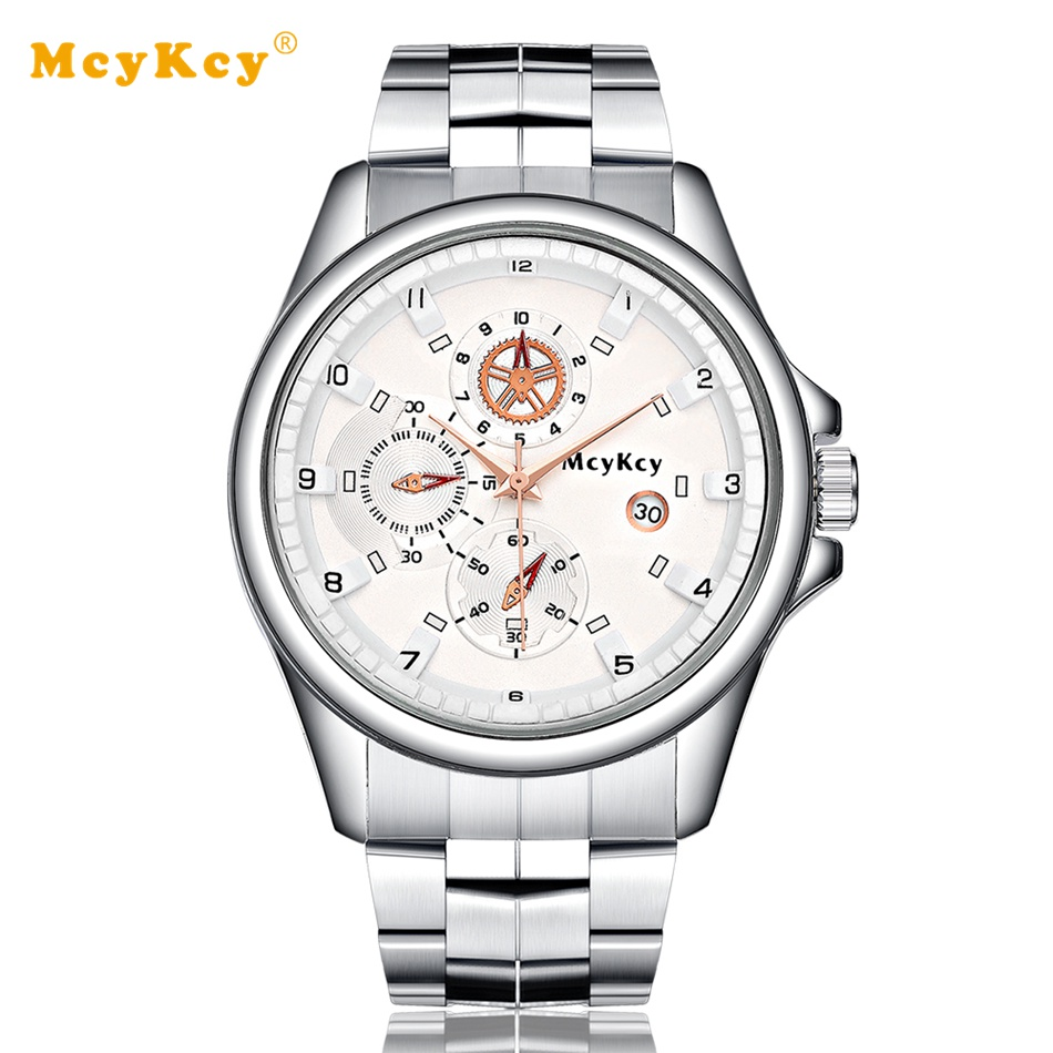 Mcykcy Men Watches Top Brand Luxury Stainless Steel Fashion Clock Quartz Wristwatch Women Dress Watches Relogio Watch MY008 new arrival 2015 brand quartz men casual watches v6 wristwatch stainless steel clock fashion hours affordable gift