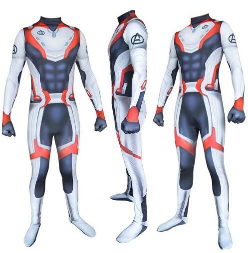 Adult Kids Avengers Endgame Quantum Realm Cosplay Costume Superhero Iron Man Captain Marvel Zentai Bodysuit Suit Jumpsuits