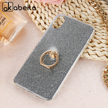 AKABEILA Phone Cover Case For Apple iPhone X iPhone 10 Ten iPhoneX iPhone10 5.8 inch Case Finger Ring Glitter Silicone Cover