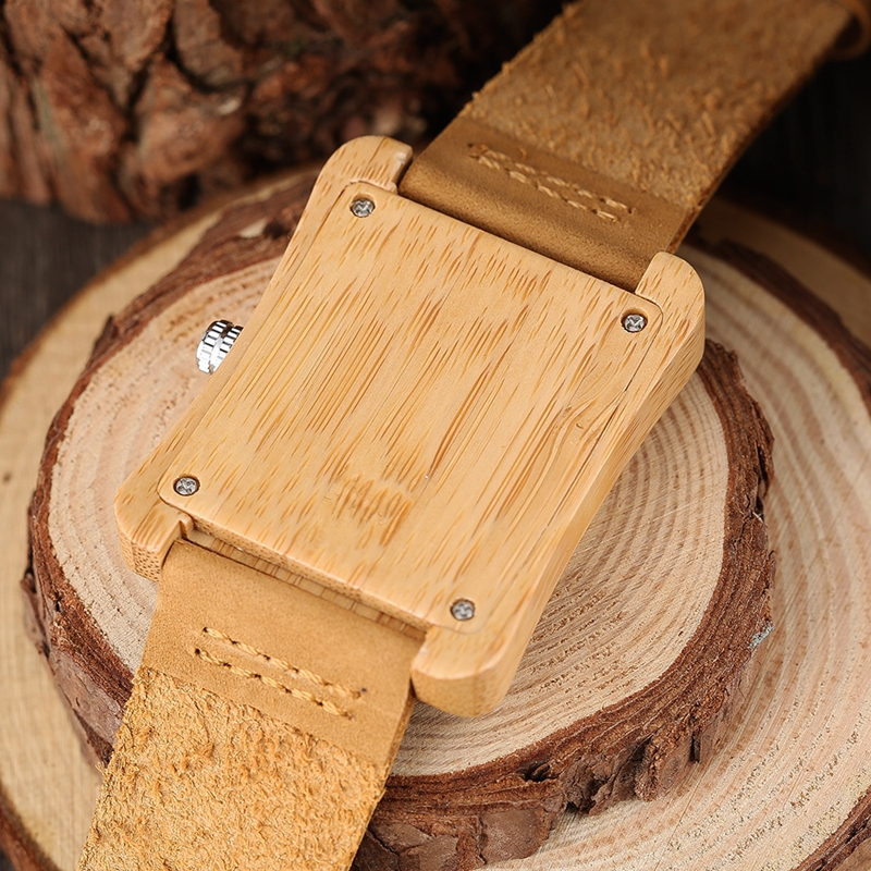 Rectangle Dial Wooden Watches for Men Natural Wood Bamboo Analog Display Genuine Leather Band Quartz Clocks Male Christmas Gifts 2020 2019 (53)