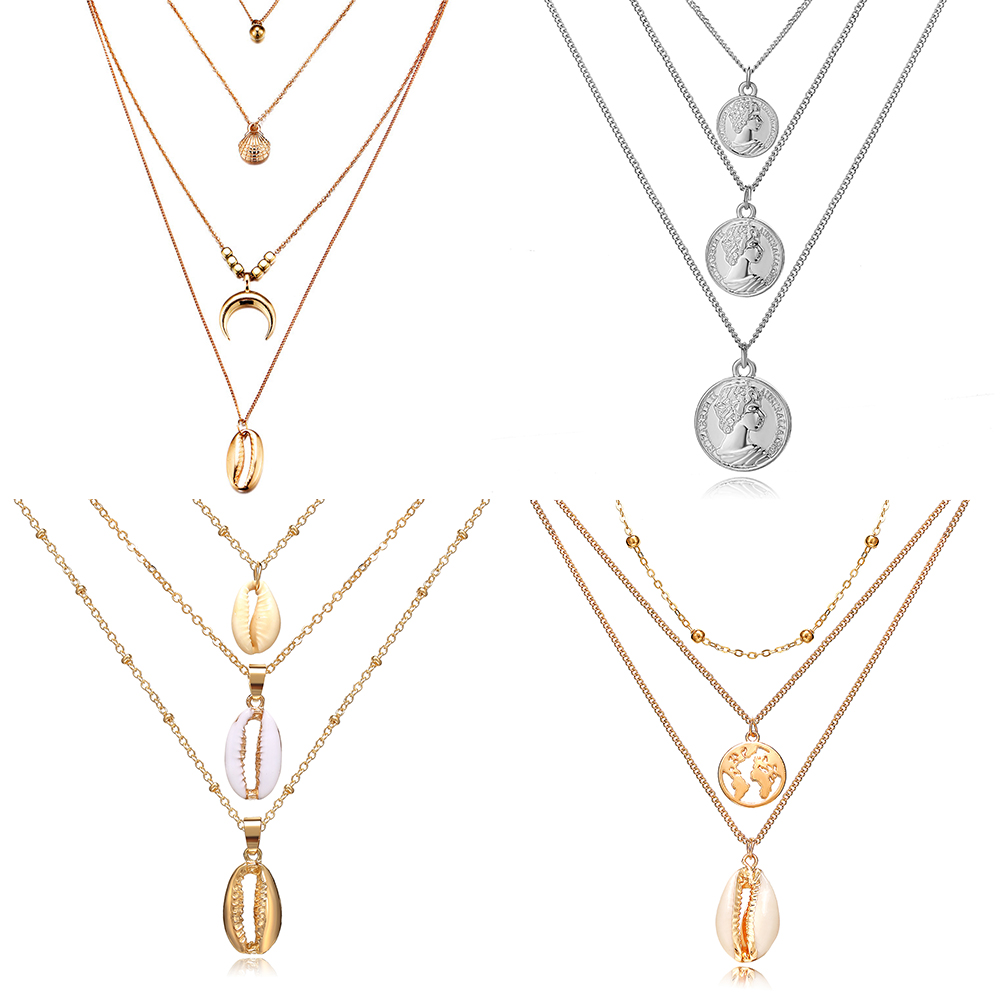 Pendants Necklaces Coin-Shell Boho Jewelry Gold-Sliver Choker Long Multi-Layer Girl Women