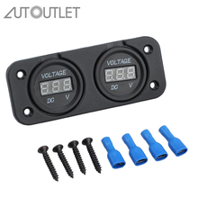 AUTOUTLET Dual Battery Monitor Digital Volt Meter LED 12V 24V DC For Boat Marine AGM Dual LED Digital Display Voltmeter
